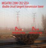 Megatro 220kv 2D2 Szc4 두 배 회로 측면 전송 탑