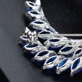 党アクセサリ青いCZは方法宝石類のブローチを去る