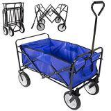 Azzurro con errori d'profilatura pieghevole del carrello della spiaggia dell'iarda del vagone di giardino di acquisto pratico del carrello
