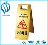 Hotel piso molhado em aço inoxidável sinal de aviso