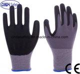 15 Cinda манометр из нейлона и спандекс Microfoam нитриловые & Waterbased PU рабочие перчатки