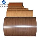 PE/PVDF du grain du bois de couleur de la bobine en aluminium à revêtement/feuille