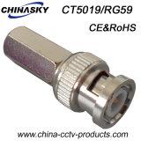 Connettore BNC di torsione del CCTV del maschio per Rg59 cavo (CT5019/RG59)