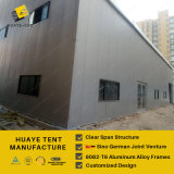 Semi-permanent Warehouse Tent with Solid Wall and Sliding Door