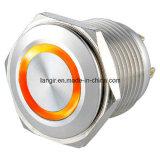 16mm de Korte Schakelaar van de Drukknop van het Roestvrij staal van het Lichaam Kortstondige 1no met leiden van de Ring