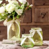 Barato al por mayor superficie de la banda florero de vidrio de la boda