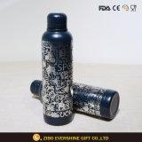 Botella de agua vacío de acero inoxidable con Logo de la impresión de la lámina