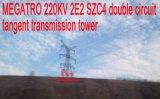 Башня передачи тангенса цепи Megatro 220kv 2e2 Szc4 двойная