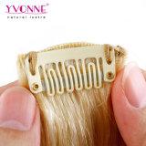 Pelo humano de la extensión del pelo del clip/clip en la extensión del pelo