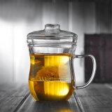 La cristalleria del tè di Pyrex personalizza la tazza di vetro del tè con la tazza del tè di vetro di Borosilicate del filtrante