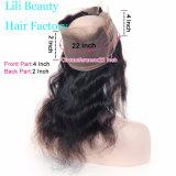 Lilibeauty Pré Depenados 360 Lace Fechamento Frontal com cabelos Bebé Onda Corpo Brasileiro 22X4X2 Remy de cabelo humano