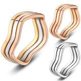 Простая конструкция родием колец пальцев трех кругов без кристально чистый звук