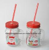Tazza bevente di vetro di vendita del fiocco di neve del regalo promozionale caldo di natale con paglia