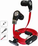 Le mode mains libres stéréo avec microphone des écouteurs câble plat