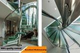 Lamelliertes Glas und gerades Stahlstahltreppenhaus Innen