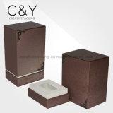 Квадратная коробка дух Brown лимитированного варианта кожаный с орнаментом металла