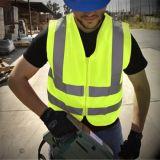 Chaleco reflexivo verde de la seguridad con las caras el elástico del acoplamiento