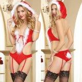 Señoras Panty atractivo y sujetador tres puntas de la ropa interior atractiva para la Navidad