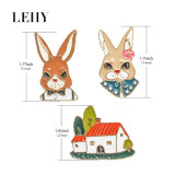 3 Email PCS/Sets de Juwelen van de Broches van Dame Rabbit Gentlemen Rabbit Gold-Plated Huis
