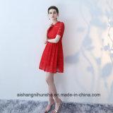 O pescoço curto da luva da pac Lace Bridesmaid Vermelho vestidos elegantes