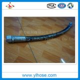 Deux câble tressé en caoutchouc de l'huile hydraulique haute pression flexible en caoutchouc