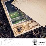 _E de madera modificado para requisitos particulares color natural de la caja de embalaje del USB de la foto del regalo de boda de la insignia de Hongdao