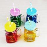 Botella de cristal de 450 ml colorido del tarro de bebida fría