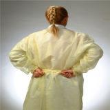 Gelbes Lokalisierungs-Kleid-Binden-Zurück nichtgewebtes Lokalisierungs-Kleid wegwerfbares Lokalisierungs-Kleid