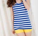 Gola redonda de forma personalizada de algodão no Verão listrado mulheres camisolas interiores