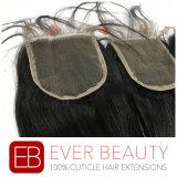 Chiusura malese del merletto dei capelli umani della chiusura della parte superiore dei capelli diritti