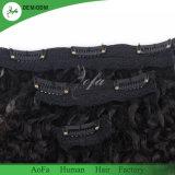 Clip en clip rizado rizado sin procesar de calidad superior de la extensión del pelo humano en pelo