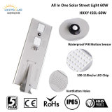 Capteur de mouvement gradable CE RoHS IP65 60W Solar Street Light avec batterie Lithium Backup