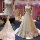 Trem longo nupcial Appliqued laço de perolização gama alta feito sob encomenda do vestido de casamento