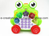 Cartoon Frog Teléfono Música Mezcla de color amarillo y verde