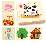 Игрушки образования малышей игр головоломки доски деревянной фермы установленные