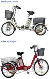La aleación de aluminio Cesta de la parte trasera de la grasa triciclo eléctrico neumático con 48V 500W del motor eléctrico delantero