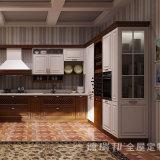 Kundenspezifische moderne Quarz-Steincountertop-festes Holz-Küche-Schränke