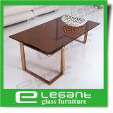 Tavolino da salotto dorato dell'acciaio inossidabile con la parte superiore di vetro di Somked