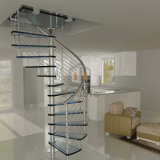 ガラス手すりが付いているステンレス鋼または炭素鋼の内部の螺旋階段