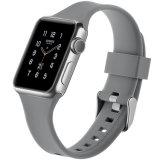 Apple Iwatchのための銀製のバックルが付いている極度の伸縮性がある多彩なゴム製シリコーンの時計バンド