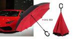 반전 우산 겹켜 견주 직물 성인 우산 C 훅 손잡이 차 우산