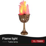 На столе шелк эффект пламени лампы освещения
