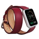 De slanke Dubbele Riem van de Vervanging van het Leer van de Luxe van de Premie van de Reis Echte Met de hand gemaakte voor Horloge 3 van de Appel