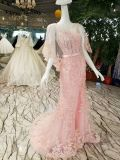 인어 분홍색 레이스 또는 Tulle 결혼식 야회복
