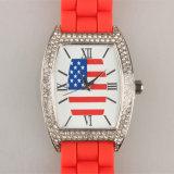 Reloj de los pares del Wristband de la manera de la alta calidad del reloj de la correa del silicio de la caja de la aleación