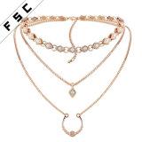 Oro de Arabia Saudita las cadenas de joyería fina hebra Multi Collar de piedras preciosas