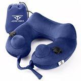 Jerrybox cuello Almohada hinchable de viaje más rápido de la almohada con 2 Airbags, soporte de la boca suave almohada para aviones con Packsack (con forma de U, azul).