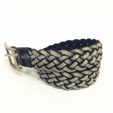 Silver and Black Non-Elastic Woven Belt