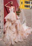 Pure dentelle robes à bille V-Neck robes de mariage de champagne Z8029
