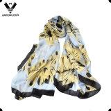 Sciarpa del tessuto di seta della stampa del foglio di vendita al dettaglio di modo di alta qualità delle donne